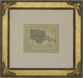 Maynard Dixon Bluff in Shadow 1922, 4.25 x 5 inches. Featured in The Westerners Brand Book #8 (1959) Custom Dixon signature frame with Thunderbird logo. French matting with hand dyed mat, archival standards. $5,500.00