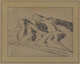 Maynard Dixon Nevada Desert Study of Range 1927 Pen & Ink, 4.25 x 6 inches, Custom Dixon signature frame with Thunderbird logo. French matting with hand dyed mat, archival standards. $5,500.00