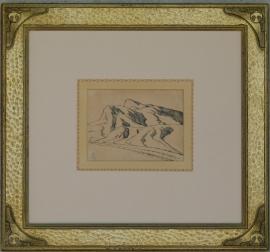 "Maynard Dixon, Nevada Desert, Study of Range 1927, 4.25 x 6 inches, Pen & Ink, ""Maynard Dixon Sketch Book"", 1967, framed 15 x 16 inches, $5,500.000"