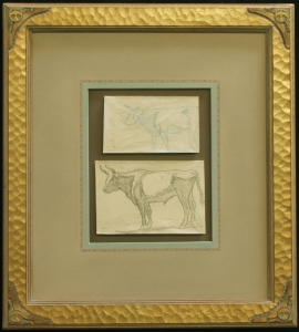 """Study of Steers, Refuge Ranch, Utah 1921, $4,800.00, Two drawings done on the Dixon Family Ranch, """"Refuge"""", Madera County, California, 1921. Acquired by Donald Hagerty, Dixon authority, directly from Edith Hamlin Dixon. Drawing sizes are 3.25 x 5.5 inches and 4.25 x 6.25 inches. Custom Dixon signature frame with Thunderbird logo. French matting with hand dyed mat, archival standards. Frame size is 18.5 x x12.5."""