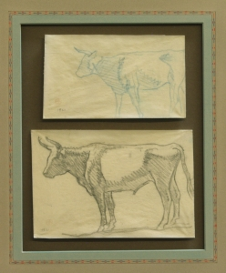"""Detail of Study of Steers, Refuge Ranch, Utah 1921, $4,800.00, Two drawings done on the Dixon Family Ranch, """"Refuge"""", Madera County, California, 1921. Acquired by Donald Hagerty, Dixon authority, directly from Edith Hamlin Dixon. Drawing sizes are 3.25 x 5.5 inches and 4.25 x 6.25 inches."""