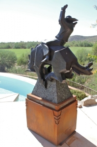 Custom steel base design for Ed Mell bronze, side