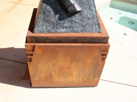 Detail of steel base for Ed Mell bronze, front details
