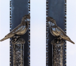Large Door Pulls Hand Fabricated with cast Kingfisher Birds