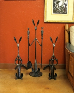Andirons and tools by Rick Merrill, Thomas Molesworth inspired