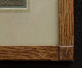 Frame: 21 x 18 inchesArts & Craft style, quarter sawn oak frame with buffalo skull logo in corners. Archival framing materials with hand applied French lines. Price: $1550.00