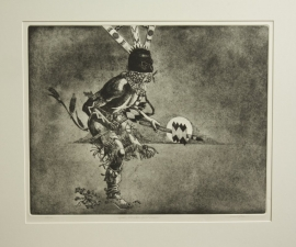 Apache Mountain Spirit Dancer, James Rome Etching 62/100 Image: 21.75 x 27.5 inches Paper: 25 x 31 inches. $1,100.00
