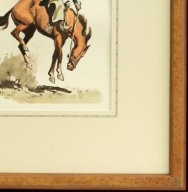Maynard Dixon signature Thunderbird logo corner frame with hand applied French lines