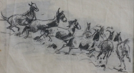 Edward Borein Pencil Sketch, unsigned, 4 x 7.25 inches, $950.00