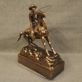 Cowboy Throwing Lariat Copper Statue 2