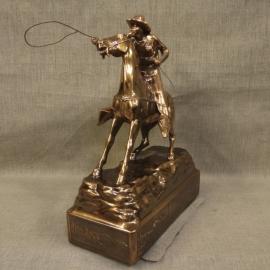 Cowboy Throwing Lariat Copper Statue 3