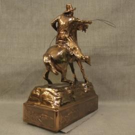 Cowboy Throwing Lariat Copper Statue 4