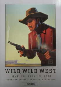 """Wild, Wild West, Dewey Galleries, 1988, Offset lithography, Signed by Ed Mell, 30 x 20 inches, signed. Rare vintage show poster produced for exhibition and sale of Western theme fine art and Western memorabilia and collectibles. The image was based on the Western pulp magazines art covers. The original painting was purchased by Arnold Schwarzenegger while in Santa Fe filming the movie """"Twins"""" with Danny DeVito. $110.00, Free Shipping Continental US."""