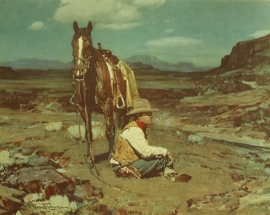 """Frank Tenny Johnson 14.25""""x18.25"""", Guardian of the Herd, Vintage Color Lithograph, Printed by Western Lithograph Co. for their """"Calendar Series"""" in 1939, $95.00, Free Shipping"""