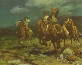 """Frank Tenny Johnson 14.5""""x18.25, Rough Riding Rancheros, Vintage Color Lithograph, Printed by Western Lithograph Co. for their """"Calendar Series"""" in 1939 $95.00, Free Shipping"""