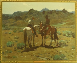 """Frank Tenny Johnson 16x19.5, Shoshone Pinnacles Vintage Color Lithograph, Printed by Western Lithograph Co. for their """"Calendar Series"""" in 1939, $95.00, Free Shipping"""