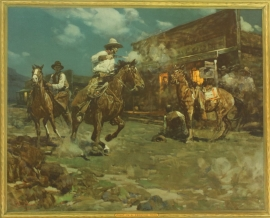 """Frank Tenny Johnson 16x19.5, Fight in a Frontier Town, Vintage Color Lithograph, Printed by Western Lithograph Co. for their """"Calendar Series"""" in 1939, $95.00, Free Shipping"""