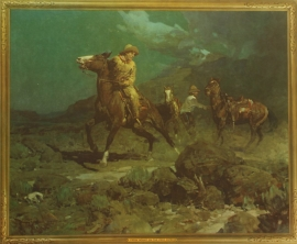 """Frank Tenny Johnson 16x19.5, A Fresh Mount on the Pony Express, Printed by Western Lithograph Co. for their """"Calendar Series"""" in 1939, $95.00, Free Shipping"""