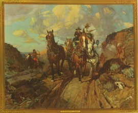 """Frank Tenny Johnson 16x19.5, A Running Fight Vintage Color Lithograph, Printed by Western Lithograph Co. for their """"Calendar Series"""" in 1939, $95.00, Free Shipping"""