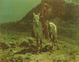 """Frank Tenny Johnson 15.25x19.5, Moonlight in The Hills Vintage Color Lithograph, Printed by Western Lithograph Co. for their """"Calendar Series"""" in 1939, $95.00, Free Shipping"""
