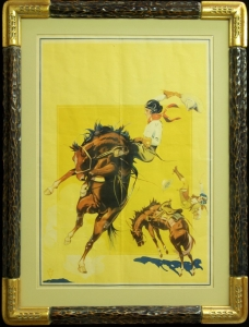 Original Cowgirl Rodeo Poster 1930s, published by D. L. Company of Newport, Kentucky Size: 27.5 x 18.5 inches Frame: 34 x 26,25 inches Custom hand carved frame with archival framing materials. Free Shipping continental US, price $2,100.00