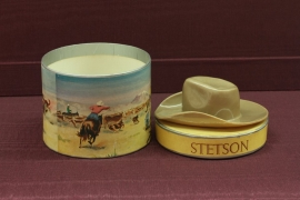 Stetson Miniature Gift Box, $175.00. This is the best example and rarest of the miniature boxes. The Western motif is the quintessential Stetson brand. The box is an exact copy of the real full size hat box and included a Western hat inside. Free Shipping,