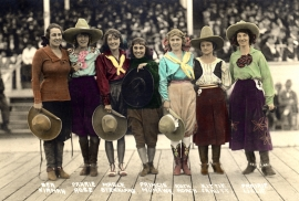 Cowgirls Pendleton Roundup 1918 Hand colored Photograph,18.75x30 inches, Fuji Diamond Crystal Archival paper. $125.00, $12.00 shipping