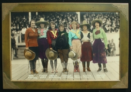 Cowgirls Pendleton Roundup 1918, Hand colored Photograph,18.75x30 inches, Fuji Diamond Crystal Archival paper, Frame 23.5x34.75 inches, $400.00, shipping $75.00