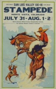 San Luis Valley Stampede 1929, 22 x 14 inches Lithograph on chipboard, $425.00 Free Shipping