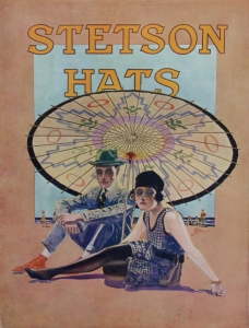 """Stetson Advertising Placard 3 ca. 1920 Lithograph on chipboard 14 x 11 inches $350.00 Shipping included. Condition is excellent, there are glue marks on back where they were mounted in the portfolio. These window cards were handed out to Western clothing stores or related retail stores to display in windows or on counters. This placard and others was in a large portfolio from the Stetson Hat Company, documenting the images created by Stetson Hat with noted illustrators of the time, artists that we now recognize. These image usually did not appear in print ads. They were more unique, even to the point of one becoming the logo for Stetson Hat, """"The Last Drop From His Hat"""" by Lon Megargee. The placards in the portfolio had descriptions by Stetson Hat showing legal copyright filings in federal courts dated in1936, though imagery shows the fashion of the time and places most of the clothing and settings to be from 1919 to 1929 as stated in the descriptions."""