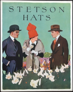 """Stetson Advertising Placard 4 ca. 1920 Lithograph on chipboard 14 x 11 inches $350.00 Shipping included. Condition is excellent, there are glue marks on back where they were mounted in the portfolio. These window cards were handed out to Western clothing stores or related retail stores to display in windows or on counters. This placard and others were in a large portfolio from the Stetson Hat Company documenting the images created by Stetson Hat with noted illustrators of the time, artists that we now recognize. These image usually did not appear in print ads. They were more unique, even to the point of one becoming the logo for Stetson Hat, """"The Last Drop From His Hat"""" by Lon Megargee. The placards in the portfolio had descriptions by Stetson Hat showing legal copyright filings in federal courts dated in1936, though imagery shows the fashion of the time and places most of the clothing and settings to be from 1919 to 1929 as stated in the descriptions."""